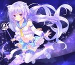 1girl animal_ears babydoll blue_footwear blue_sailor_collar blue_skirt blush detached_sleeves frills full_body holding holding_wand kinokomushi long_hair looking_at_viewer magical_girl mary_janes midriff miniskirt navel necktie original purple_background purple_hair sailor_collar shoes skirt solo star thigh-highs twintails violet_eyes wand white_legwear yellow_neckwear