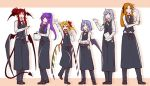 6+girls :d alternate_costume alternate_hairstyle apron arm_up bat_wings black_apron black_footwear black_pants black_vest blonde_hair blue_bow blue_eyes book bow bowtie braid clenched_hand commentary_request crossed_arms crystal demon_tail demon_wings eichi_yuu eyebrows_visible_through_hair flandre_scarlet full_body gloves gloves_removed green_bow grey_bow hair_between_eyes hair_bow hair_ornament hair_ribbon hairclip hand_up head_wings holding holding_book hong_meiling izayoi_sakuya koakuma long_hair long_sleeves looking_at_viewer multiple_girls no_hat no_headwear open_mouth orange_background orange_hair pants patchouli_knowledge pointy_ears purple_hair red_bow red_eyes red_neckwear red_ribbon redhead remilia_scarlet ribbon shadow shirt shoes short_hair short_ponytail side_ponytail sidelocks silver_hair sleeves_rolled_up smile standing tail touhou twin_braids two-tone_background vest violet_eyes waist_apron waitress white_background white_gloves white_shirt wings