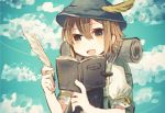 1girl :d backpack bag bangs brown_eyes brown_hair clouds day dot_nose hair_between_eyes hat hat_feather holding kyuaa notebook octopath_traveler open_mouth outdoors puffy_short_sleeves puffy_sleeves quill short_hair short_sleeves sky smile solo tressa_(octopath_traveler) upper_body