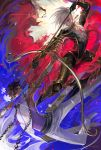 2boys arjuna_(fate/grand_order) armlet armor battle black_bodysuit blue_eyes bodysuit bow_(weapon) earrings egawa_akira fate/grand_order fate_(series) flower heterochromia highres holding holding_bow_(weapon) holding_spear holding_weapon jewelry karna_(fate) looking_at_another male_focus multiple_boys pants polearm red_eyes shoes spear spikes weapon white_footwear white_hair white_pants