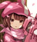 1girl against_tree animal_ears animal_hat brown_eyes brown_hair bullpup catbell cherry_blossoms eyebrows_visible_through_hair fake_animal_ears gloves gun hat highres holding holding_gun holding_weapon llenn_(sao) looking_at_viewer military military_uniform open_mouth p90 pink_gloves pink_hat pink_scarf scarf short_hair solo submachine_gun sword_art_online sword_art_online_alternative:_gun_gale_online tree uniform upper_body weapon white_background