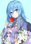 1girl :o akuma_no_yasashi-sa animal bag bagged_fish bangs black_bow blue_background blue_eyes blue_hair blue_kimono blush bow candy_apple derivative_work eyebrows_visible_through_hair fish floral_print food goldfish hair_between_eyes head_tilt holding holding_food japanese_clothes kimono long_hair long_sleeves looking_at_viewer obi parted_lips print_kimono rachel_gardner sash satsuriku_no_tenshi simple_background solo standing wide_sleeves yukata