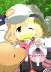 1girl blonde_hair bow brown_eyes cape cosplay cyrillic dappled_sunlight dog full_body futaba_anzu grass grey_skirt hat idolmaster idolmaster_cinderella_girls large_buttons little_busters! mouth_hold noumi_kudryavka noumi_kudryavka_(cosplay) pink_bow plaid plaid_skirt pleated_skirt russian school_uniform skirt sleepfool solo sunlight thigh-highs twintails upper_body white_cape white_hat white_legwear