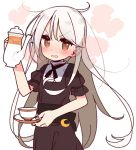 >:o 1girl blush brown_eyes commentary_request crescent crescent_moon_pin cup ears_visible_through_hair eyebrows_visible_through_hair kantai_collection kikuzuki_(kantai_collection) long_hair looking_at_viewer open_mouth simple_background solo teacup teapot upper_body white_background white_hair yoru_nai