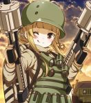 1girl ;q bangs blonde_hair blunt_bangs brown_eyes brown_gloves brown_jacket catbell floating_hair fukaziroh_(sao) gloves grenade_launcher gun highres holding holding_gun holding_weapon jacket looking_at_viewer loud military military_uniform one_eye_closed outdoors solo sword_art_online sword_art_online_alternative:_gun_gale_online tongue tongue_out uniform upper_body weapon