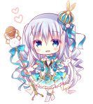 1girl :d bangs bitter_crown blue_eyes blue_hair blue_skirt blush boots chibi commentary_request crown daydream_show eyebrows_visible_through_hair full_body gloves gochuumon_wa_usagi_desu_ka? hair_between_eyes hair_ornament hand_up heart holding holding_microphone_stand idol kafuu_chino knee_boots long_hair microphone microphone_stand mini_crown open_mouth pleated_skirt print_skirt ringlets shirt simple_background skirt smile snowflake_print solo standing tippy_(gochiusa) two_side_up very_long_hair white_background white_footwear white_gloves white_shirt x_hair_ornament