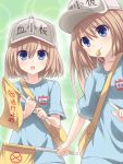 2girls alternate_costume bangs blue_eyes blush breasts brown_hair cosplay eyebrows_visible_through_hair hat hataraku_saibou highres holding kazuneko_(wktk1024) long_hair looking_at_viewer mouth_hold multiple_girls neptune_(series) platelet_(hataraku_saibou) platelet_(hataraku_saibou)_(cosplay) ram_(choujigen_game_neptune) rom_(choujigen_game_neptune) short_hair siblings sisters small_breasts smile twins whistle