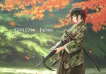 1girl adapted_uniform assault_rifle black_eyes black_hair bow camouflage copyright_name cover cover_page doujin_cover frown gun hair_bow hakama highres howa_type_89 japan_ground_self-defense_force japan_self-defense_force japanese_clothes katana leaf long_hair maple_leaf military nature obi original outdoors ponytail rifle sash serious sidelocks sling soldier solo sword tantu_(tc1995) weapon wind