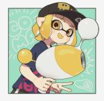 1girl bangs black_border black_hat blonde_hair blue_shirt blunt_bangs border check_commentary commentary_request domino_mask dutch_angle fangs gomi_(kaiwaresan44) hat holding holding_weapon inkling looking_at_viewer luna_blaster_(splatoon) mario_(series) mask open_mouth outside_border paint_splatter pointy_ears print_hat print_shirt shirt short_hair short_sleeves single_vertical_stripe smile solo space_invaders splatoon standing super_mario_bros. tentacle_hair upper_body weapon yellow_eyes yellow_tongue