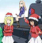 3girls andou_(girls_und_panzer) bc_freedom_(emblem) bc_freedom_military_uniform black_hair blonde_hair blue_eyes caterpillar_tracks christmas drill_hair emblem ft-17 girls_und_panzer grass green_eyes ground_vehicle long_hair marie_(girls_und_panzer) military military_vehicle motor_vehicle multiple_girls one_eye_closed oshida_(girls_und_panzer) ribonzu short_hair skirt sky smile tank