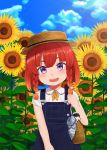 1girl admiral_(kantai_collection) alternate_costume ascot bag blue_sky boater_hat bob_cut braid character_doll clouds cloudy_sky collared_shirt day dress etorofu_(kantai_collection) field flower flower_field fuyube_gin_(huyube) hair_ribbon kantai_collection looking_at_viewer outdoors overalls pinafore_dress redhead ribbon shirt short_sleeves sky smile solo sunflower thick_eyebrows twin_braids umbrella violet_eyes white_ribbon white_shirt yellow_neckwear