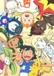 alolan_vulpix black_eyes black_hair blonde_hair blue_eyes blue_hair brown_eyes green_eyes green_hair hatena_(hatenashi8107) kaki_(pokemon) lillie_(pokemon) mamane_(pokemon) mao_(pokemon) orange_hair pikachu popplio satoshi_(pokemon) steenee suiren_(pokemon) togedemaru turtonator