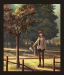 1girl black_border border brown_hair chinese_commentary commentary_request fence highres holding necktie noose original pantyhose scenery school_uniform smile solo tree watering watering_can yurichtofen