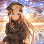 >:( 1girl abigail_williams_(fate/grand_order) bangs black_bow black_dress blonde_hair blue_eyes blue_sky bow bug butterfly closed_mouth clouds cloudy_sky commentary_request crossed_arms dress fate/grand_order fate_(series) forehead frown hair_bow highres insect kyon_(kyouhei-takebayashi) long_hair long_sleeves looking_at_viewer orange_bow outdoors parted_bangs polka_dot polka_dot_bow sky sleeves_past_fingers sleeves_past_wrists solo sunset v-shaped_eyebrows very_long_hair