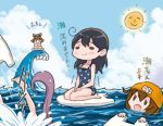 4girls ahoge black_hair blue_sky brown_hair chibi closed_eyes clouds comic commentary_request fang hair_between_eyes headgear ikazuchi_(kantai_collection) kantai_collection kickboard multiple_girls ocean one-piece_swimsuit open_mouth otoufu polka_dot polka_dot_swimsuit purple_hair seiza sitting sky smile splashing sun swim_cap swimming swimsuit translation_request ushio_(kantai_collection) waves yukikaze_(kantai_collection)