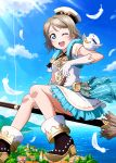 1girl ;d bird black_footwear blue_eyes blue_sky broom broom_riding brown_hair clouds day dress gloves ink_(pixiv25450915) love_live! love_live!_sunshine!! ocean one_eye_closed open_mouth outdoors short_dress short_hair short_sleeves sky smile solo sunlight watanabe_you white_feathers white_gloves