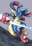 absurdres blue_fur bone canine creatures_(company) game_freak gen_4_pokemon highres lucario mega_evolution mega_lucario nintendo paws pokemon shigure_na_hito spikes