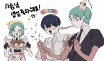 3others apron birthday_cake blue_eyes blue_hair cake candle clapping food frilled_apron frills gem_uniform_(houseki_no_kuni) glasses green_eyes green_hair hairband happy_birthday hat heart heart-shaped_eyewear heterochromia highres houseki_no_kuni looking_at_viewer multiple_others party_hat party_horn party_popper phosphophyllite phosphophyllite_(ll) simple_background smile spoilers upper_body white_background