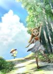 1girl :d arm_up blue_sky blush bow bowtie brown_eyes brown_hair clouds da dress floating_hair full_body highres long_hair looking_at_viewer mikan_(pokemon) open_mouth orange_bow outdoors pokemon pokemon_(game) pokemon_hgss ribero short_dress short_twintails sky sleeveless sleeveless_dress smile standing standing_on_one_leg sundress sunflora sunlight tree twintails very_long_hair white_dress