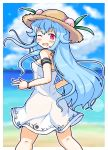 1girl ;d absurdres armband ass bangs bare_shoulders beach blue_hair blue_sky blurry blurry_background blush bracelet breasts brown_hat clouds day dress eruru_(erl) eyebrows_visible_through_hair fang food fruit hat highres hinanawi_tenshi jewelry kneepits light_blue_hair long_hair looking_at_viewer looking_back ocean one_eye_closed open_mouth outdoors outline peach red_eyes sky small_breasts smile solo straw_hat touhou very_long_hair water white_dress white_outline
