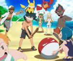 3girls 4boys blindfold djmn_c kaki_(pokemon) kukui_(pokemon) male_swimwear mamane_(pokemon) multiple_boys multiple_girls pikachu pokemon pokemon_(anime) pokemon_sm_(anime) rotom rotom_dex satoshi_(pokemon) suiren swim_trunks swimsuit swimwear voltorb