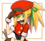 1girl adjusting_clothes adjusting_hat alternate_hairstyle blonde_hair blush breasts brown_gloves buttons cabbie_hat capcom dakusuta gloves green_eyes green_ribbon hair_between_eyes hair_ribbon hand_on_headwear hat high_ponytail holding holding_wrench long_hair ponytail ribbon rockman rockman_dash roll_caskett short_sleeves sidelocks simple_background small_breasts smile solo tools undershirt upper_body white_background wrench
