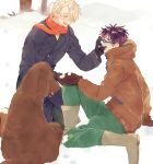 2boys ^_^ animal black_gloves black_hair blue-framed_eyewear blue_coat boots brown_footwear brown_gloves brown_jacket closed_eyes closed_eyes dog full_body glasses gloves green_pants hand_on_another's_cheek hand_on_another's_face hands_together happy hood hood_down jacket katsuki_yuuri kneeling makkachin male_focus multiple_boys open_mouth outdoors pants profile red_scarf scarf short_hair sitting smile snow tadano53 tongue tongue_out tree viktor_nikiforov white_hair winter winter_clothes yaoi yuri!!!_on_ice