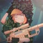 1girl black_gloves blush camouflage eyebrows_visible_through_hair gloves gun hat holding holding_gun holding_weapon looking_at_viewer nyifu one_eye_closed orange_eyes orange_hair orange_hat original parted_lips rifle short_hair short_sleeves smile sniper_rifle solo teeth upper_body weapon