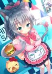 1girl :3 absurdres animal animal_ears apron arm_support bangs baseball_cap bird blue_eyes blurry blurry_foreground blush bow breasts cat_ears cat_girl cat_tail cherry chick cleavage closed_mouth commentary_request depth_of_field dress_shirt drinking_straw dutch_angle eyebrows_visible_through_hair food french_fries frilled_apron frills fruit green_eyes hair_between_eyes hair_bow hamburger hand_up hat heterochromia highres holding holding_tray huge_filesize large_breasts long_hair looking_at_viewer original pennant pink_bow pink_shirt pink_skirt pleated_skirt ponytail red_bow red_hat shirt short_sleeves sidelocks silver_hair sitting skirt smile solo standing string_of_flags tail tail_bow tail_raised tougetsu_hajime tray uniform very_long_hair waist_apron waitress white_apron