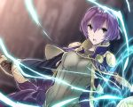 1girl aiueo1234853 bow brown_gloves fire_emblem fire_emblem:_kakusei fire_emblem:_shin_monshou_no_nazo gloves grey_eyes highres katarina_(fire_emblem) long_sleeves magic_circle open_mouth purple_bow purple_hair robe short_hair solo upper_body wide_sleeves