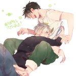 2boys ^_^ barefoot black_hair black_shirt blurry blush closed_eyes depth_of_field fingernails full_body green_pants half-closed_eyes happy hug katsuki_yuuri long_sleeves male_focus multiple_boys open_mouth pants profile shirt short_hair simple_background smile tadano53 translated upper_body viktor_nikiforov white_background white_hair white_shirt yaoi yuri!!!_on_ice
