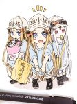 3girls :o abigail_williams_(fate/grand_order) bag bangs black_footwear blonde_hair blue_eyes blue_shirt blush boots character_name clothes_writing cosplay crossed_bandaids fate/grand_order fate_(series) flag flat_cap grey_hat hat hataraku_saibou holding holding_flag long_hair mouth_hold multiple_girls multiple_persona notice_lines open_mouth parted_bangs parted_lips photo platelet_(hataraku_saibou) platelet_(hataraku_saibou)_(cosplay) red_eyes round_teeth shirt short_sleeves shoulder_bag simple_background sofra teeth traditional_media upper_teeth very_long_hair whistle white_background white_hair