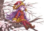 1girl animal_ears boots cherry_blossoms green_eyes hat konomoto_(knmtzzz) lavender_skin league_of_legends long_hair lulu_(league_of_legends) pantyhose petals purple_hair red_legwear sitting sitting_on_branch solo witch_hat yordle