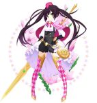 1girl argyle argyle_legwear black_gloves black_hair boots closed_mouth flower flower_knight_girl full_body gloves hat holding holding_spear holding_weapon ixia_(flower_knight_girl) kannagi_rei legs_apart long_hair looking_at_viewer object_namesake official_art overalls pink_capelet pink_footwear pink_hat polearm simple_background smile solo spear standing star thigh-highs thigh_boots twintails weapon white_background yellow_eyes