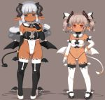 :o aqua_eyes bangs bare_shoulders big_hair black_footwear black_legwear black_tail black_wings blunt_bangs blush breasts closed_mouth commentary_request covered_navel dark_skin demon_girl demon_horns demon_tail demon_wings detached_collar elbow_gloves eyebrows_visible_through_hair full_body gloves grey_background half-closed_eyes hand_on_hip hand_up high_heels highleg highleg_leotard horns leotard long_hair looking_at_viewer low_wings navel nose_blush open_mouth original pigeon-toed pointy_ears red_eyes short_eyebrows short_hair short_twintails sidelocks simple_background slit_pupils small_breasts smile standing succubus tail tail_ornament thick_eyebrows thigh-highs twintails white_footwear white_gloves white_legwear white_tail wings