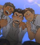 3boys black_hair blue_sky blush brown_hair chin_stroking clenched_hand from_below huddle kneeling lens_flare looking_at_another male_focus multiple_boys open_mouth original school_uniform sky smile st05254 surprised