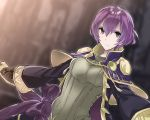 1girl aiueo1234853 bow brown_gloves closed_mouth fire_emblem fire_emblem:_kakusei fire_emblem:_shin_monshou_no_nazo gloves grey_eyes highres katarina_(fire_emblem) long_sleeves purple_bow purple_hair robe short_hair solo upper_body wide_sleeves