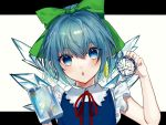 1girl :o adapted_costume bare_arms blue_dress blue_eyes blue_hair blue_nails blush bow cirno commentary daimaou_ruaeru dress earrings eyebrows_visible_through_hair food frilled_sleeves frills fruit green_bow hair_between_eyes hair_bow hand_up head_tilt highres holding holding_fruit ice ice_wings jewelry lemon lemon_slice letterboxed looking_at_viewer nail_polish neck_ribbon outside_border parted_lips pinafore_dress popsicle red_neckwear red_ribbon ribbon short_hair short_sleeves simple_background snowflakes solo touhou white_background wing_collar wings