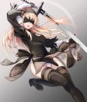1girl :d arm_up bangs black_hairband black_legwear blindfold blonde_hair character_request cleavage_cutout cosplay glint grey_background hairband ivlish_(star_ocean) long_hair nier_(series) nier_automata open_mouth panties smile solo standing standing_on_one_leg star_ocean star_ocean_anamnesis thigh-highs underwear white_panties yorha_no._2_type_b yorha_no._2_type_b_(cosplay)