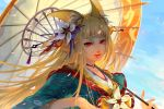 absurdres animal_ears bangs blue_sky blunt_bangs day flower fox_ears hair_flower hair_ornament hair_stick highres katrina_chiu looking_at_viewer outdoors over_shoulder parasol red_eyes sdorica_-sunset- sky solo thick_eyebrows umbrella upper_body whisker_markings