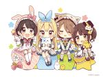 4girls :d animal_ears animal_hood bangs black_hat blonde_hair blue_dress blue_footwear blue_ribbon blue_sailor_collar blush bow brown_eyes brown_footwear brown_hair bunny_hood cat_ears cat_hood chibi closed_eyes covered_mouth dress drooling eyebrows_visible_through_hair facing_viewer green_eyes grey_dress grey_shirt hair_between_eyes hair_ribbon hat heart highres holding holding_wand hood hood_up kneehighs light_brown_hair long_sleeves looking_at_viewer mini_hat mini_top_hat multiple_girls open_mouth original outstretched_arms parted_lips pleated_dress rabbit_ears rainbow red_bow red_footwear ribbon sailor_collar sailor_dress sakura_oriko shirt shoes sleeping sleeveless sleeveless_dress smile spread_arms star top_hat wand white_background white_dress white_legwear