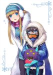 1boy 1girl bent_over black_hair blonde_hair blue_eyes chocolate chocolate_heart commentary dark_skin dark_skinned_male earmuffs eating eyebrows_visible_through_hair facial_mark food food_on_face fur_coat fur_collar gloves goggles heart hood hooded_jacket jacket knit_hat konomoto_(knmtzzz) league_of_legends long_hair malzahar monster open_mouth scarf syndra winter_clothes younger