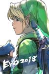 1boy 2018 blonde_hair blue_eyes earrings facing_away fingerless_gloves gloves green_hat half-closed_eyes hankuri hat jewelry link male_focus master_sword pointy_ears shield short_sleeves simple_background solo sword the_legend_of_zelda the_legend_of_zelda:_ocarina_of_time upper_body weapon white_background