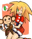 1girl :3 absurdres animal belt bike_shorts bike_shorts_under_shorts blonde_hair blush blush_stickers brown_gloves cabbie_hat capcom dakusuta data_(rockman_dash) eyebrows_visible_through_hair gem gloves green_eyes hair_between_eyes hat highres holding holding_animal long_hair monkey one_eye_closed open_mouth red_hat red_shorts rockman rockman_dash roll_caskett short_shorts shorts smile speech_bubble spiky_hair undershirt