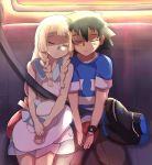 baseball_cap black_hair blonde_hair closed_eyes hat highres kuriyama lillie_(pokemon) pokemon pokemon_(anime) pokemon_sm_(anime) satoshi_(pokemon) seatbelt sleeping