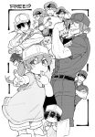 !? 1girl 6+boys bird blowing blush box child closed_mouth copyright_name cosplay crossed_arms fish flag free! greyscale hair_over_one_eye hat hataraku_saibou hazuki_nagisa helper_t_(hataraku_saibou) high_speed! holding iwatobi-chan jacket killer_t_(hataraku_saibou) killer_t_(hataraku_saibou)_(cosplay) kirishima_ikuya long_hair maru_nage matsuoka_gou matsuoka_rin monochrome multiple_boys nanase_haruka_(free!) platelet_(hataraku_saibou) platelet_(hataraku_saibou)_(cosplay) pointing pointing_at_viewer red_blood_cell_(hataraku_saibou) ryuugazaki_rei shorts tachibana_makoto toono_hiyori u-1146 u-1146_(cosplay) uniform whistle yamazaki_sousuke younger
