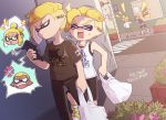 >_< 1girl 3boys anger_vein artist_name bag black_pants black_shirt black_shorts blank_eyes blonde_hair boots casual cellphone commentary_request dark_skin day dutch_angle earrings emperor_(splatoon) frown fume glaring grocery_bag half-closed_eyes hand_on_hip holding holding_cellphone holding_phone inkling_(language) inumaru_akagi jewelry light_frown lightning_bolt long_sleeves multiple_boys n-pacer_(splatoon) notice_lines open_mouth outdoors pants phone pixiv_id prince_(splatoon) print_shirt road sharp_teeth shirt shoes shopping_bag short_ponytail shorts shouting sidewalk smartphone splatoon splatoon_(manga) squidkid_jr. street sweat t-shirt tank_top teeth v-shaped_eyebrows v-shaped_eyes very_dark_skin white_footwear white_shirt