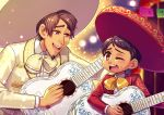 2boys black_hair bow brown_eyes charro coco_(disney) dark_skin dark_skinned_male disney facial_hair goatee grandfather_and_grandson guitar hat hector_rivera hector_rivera_(alive) highres instrument jacket miguel_rivera multiple_boys short_hair smile time_paradox