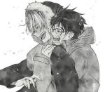 2boys ^_^ black_hair blurry blush closed_eyes closed_eyes coat depth_of_field eyebrows_visible_through_hair fingernails glasses greyscale happy hood hood_down hood_up hooded_jacket hoodie hug hug_from_behind jacket katsuki_yuuri male_focus monochrome multiple_boys open_mouth outdoors profile short_hair simple_background smile snow tadano53 upper_body viktor_nikiforov white_background winter winter_clothes yaoi yuri!!!_on_ice