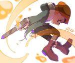 1boy army-kun_(splatoon) artist_name beret black_shorts blurry blurry_foreground boots brown_footwear coat commentary_request cross-laced_footwear depth_of_field echolocator_(splatoon) facepaint foreshortening from_side full_body fur-trimmed_coat fur_trim green_coat hat holding holding_weapon hooded_coat inkling inumaru_akagi jumping lace-up_boots long_sleeves looking_at_viewer male_focus n-zap_(splatoon) orange_eyes orange_hair orange_hat pixiv_id shorts solo splatoon splatoon_(manga) straight-laced_footwear weapon